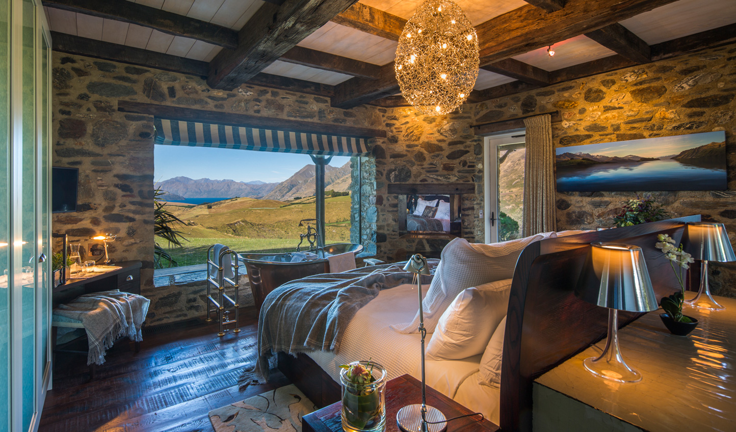 The master suite of dreams with panoramic views of New Zealand's countryside