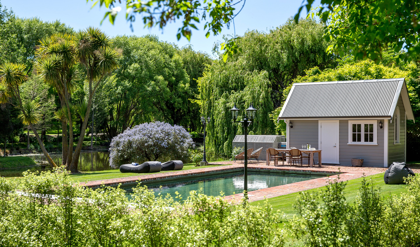 Dive into the garden swimming pool in summer months