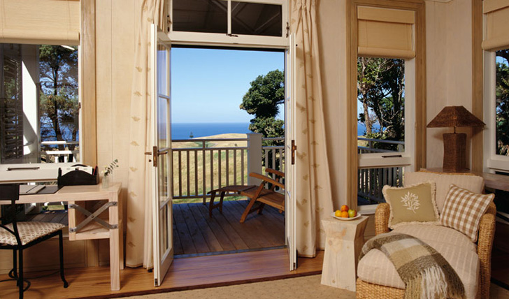 A private terrace and bedroom at Kauri Cliffs