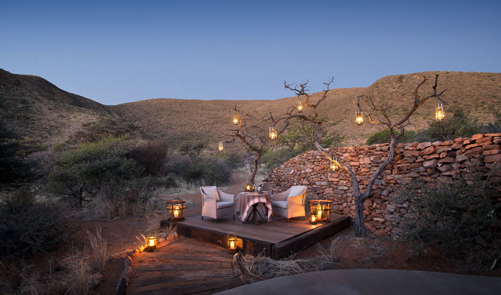 Luxury hotel dining at Tarkuni in Tswalu, South Africa