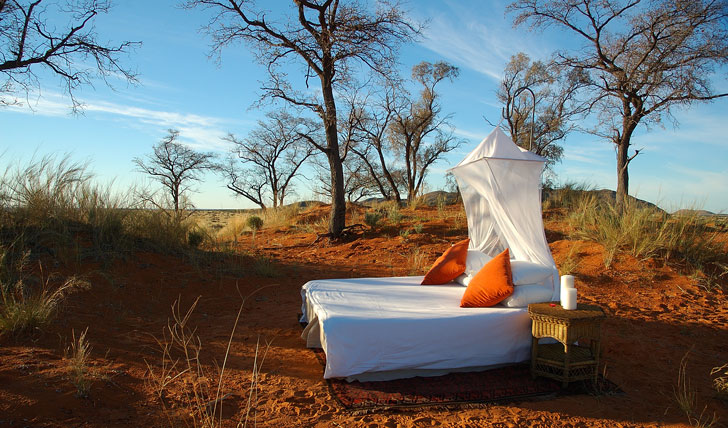 Luxury hotel outdoor bed at Tarkuni in Tswalu, South Africa