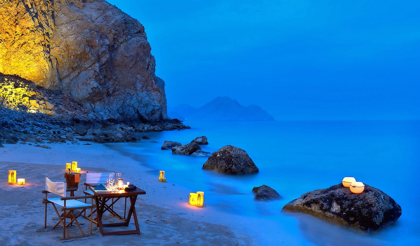 There's no experience more special than private dining on the beach at Six Senses Zighy Bay