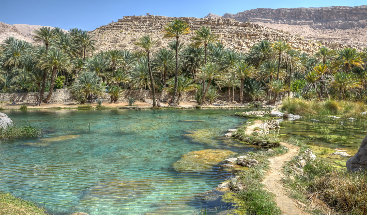 The emerald waters of Wadi Bani Khalid will invite you in for a mid-morning dip