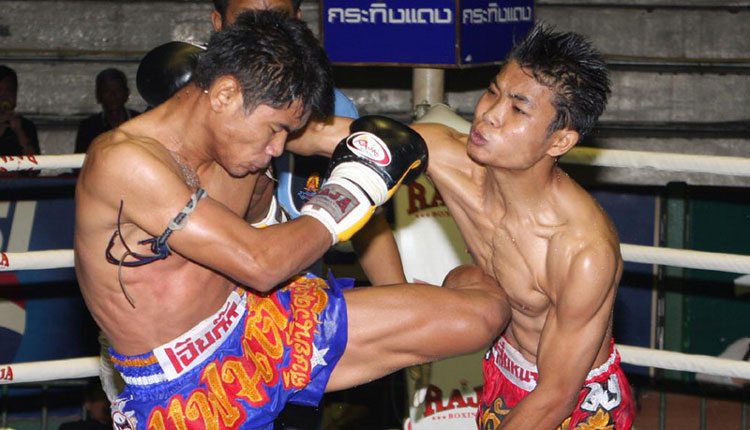 Thai kickboxing close-up