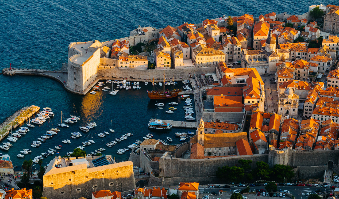 Look down on Dubrovnik Old Town from Srdj Hill