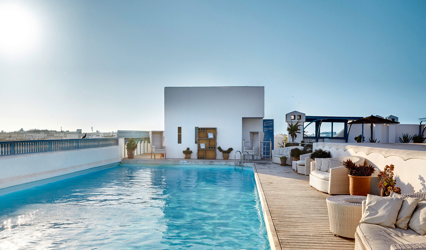 Cool off with a dip in the rooftop pool of L'Heure Bleu