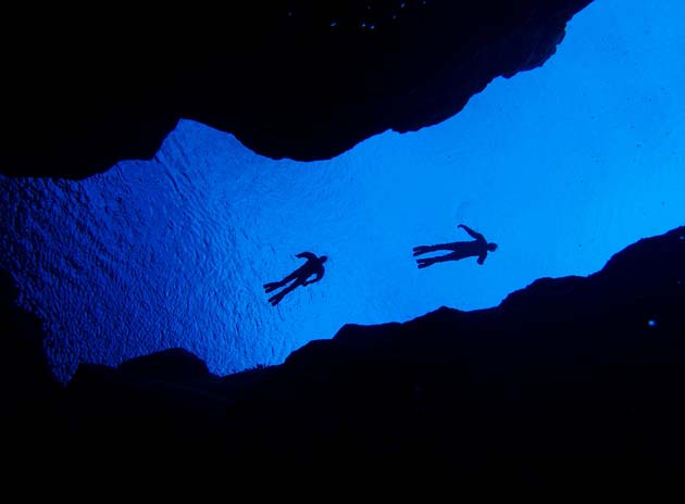 Diving inbetween tectonic plates in Iceland