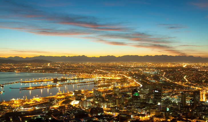Cape Town lights up at night