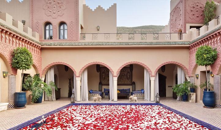 Roses in pool at Kasbah Tamadot