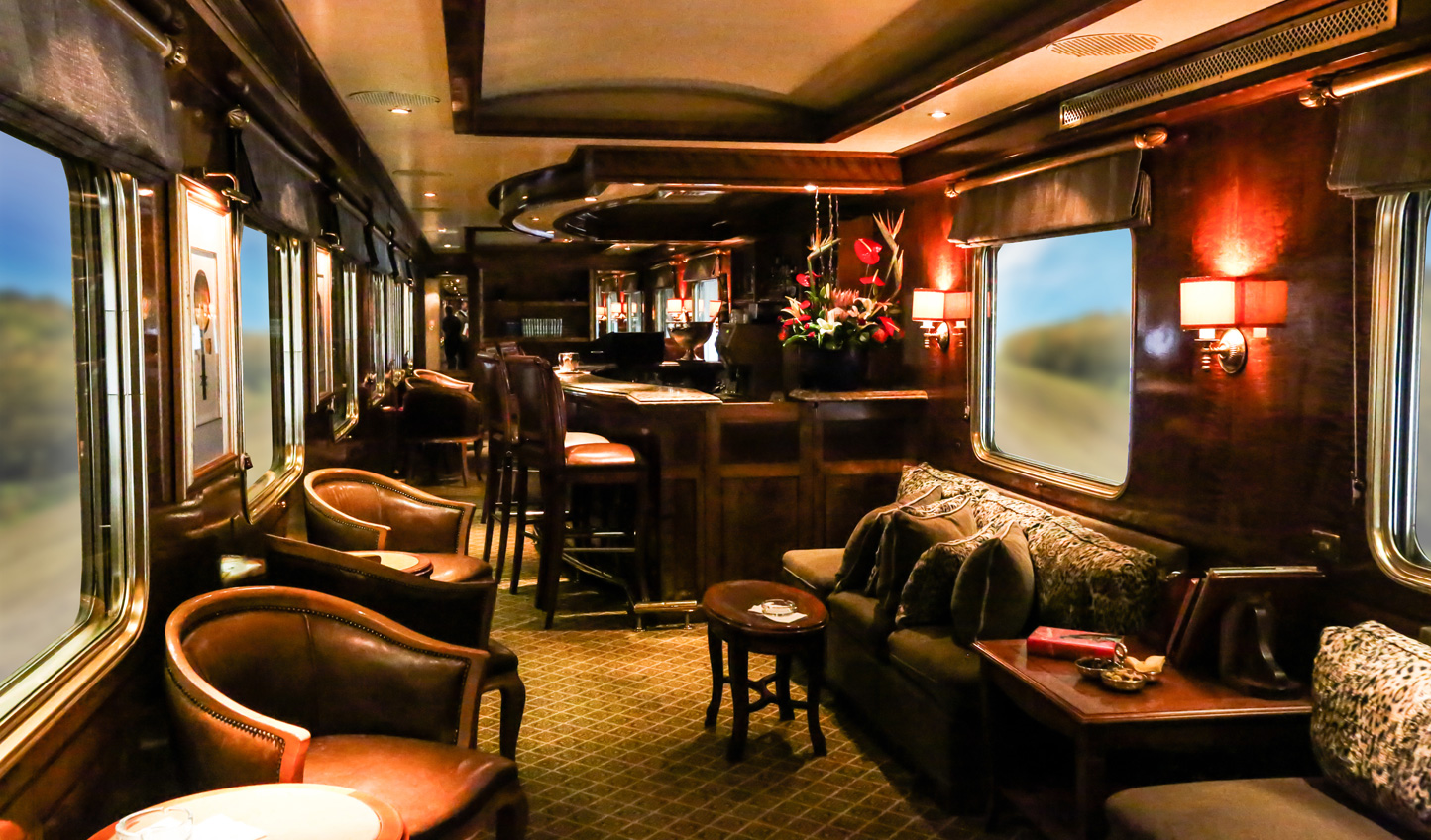 Indulge in a fine South African wine in the Bar Car