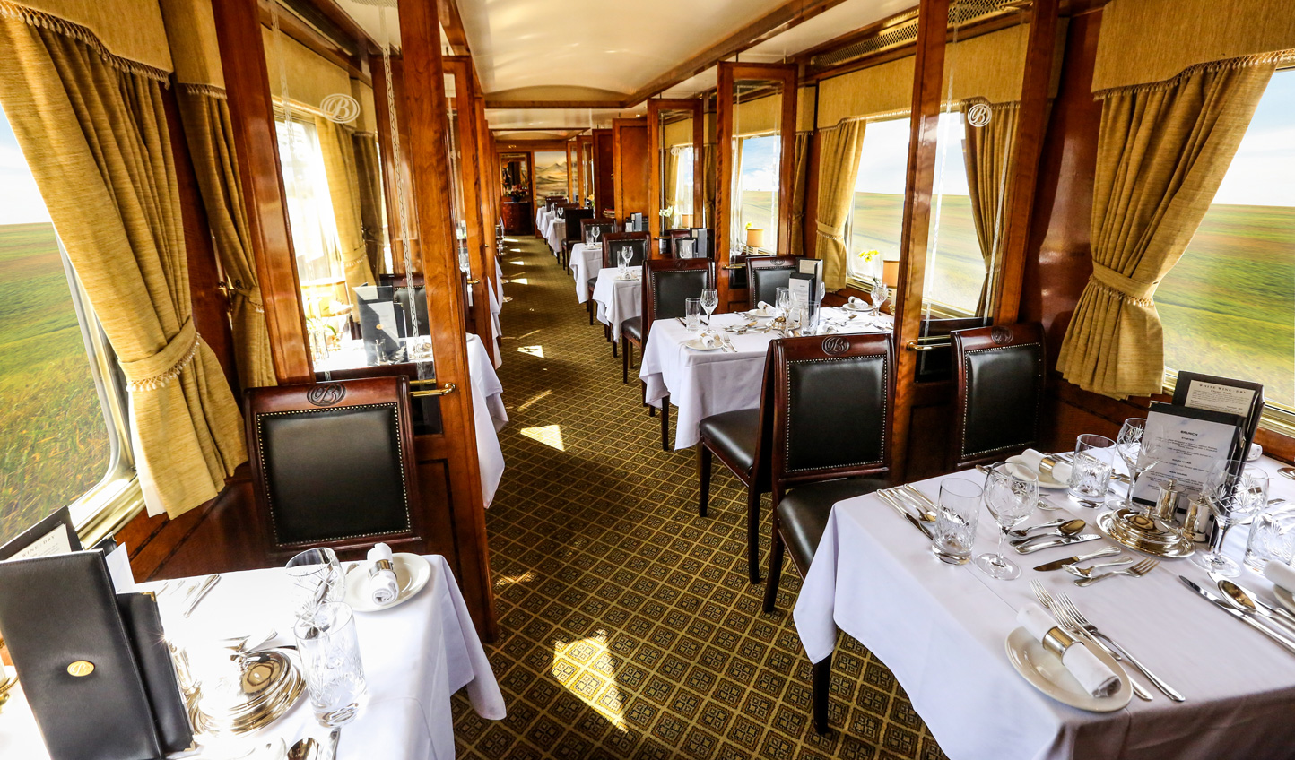 Gastronomic fare served as the scenery passes by the windows in the Dining Car