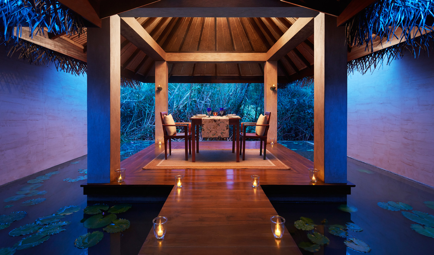 Enjoy a romantic candlelit dinner for two in the Spa Pavilion