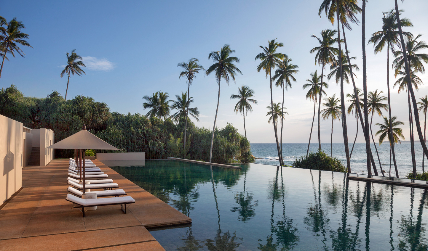 Gaze out over the horizon from the gorgeous infinity pool at Amanwella