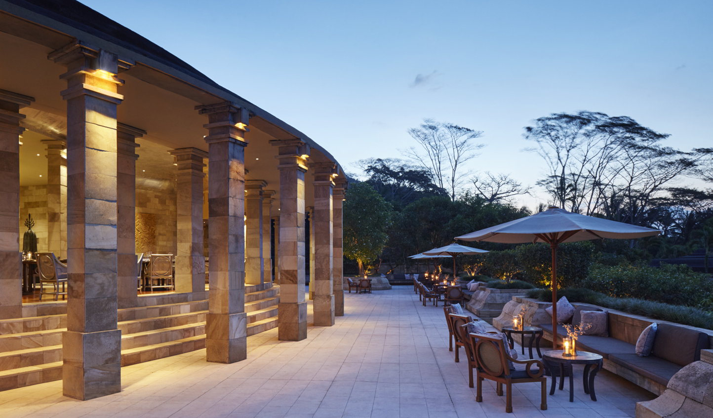 Dine out on the terrace at dusk