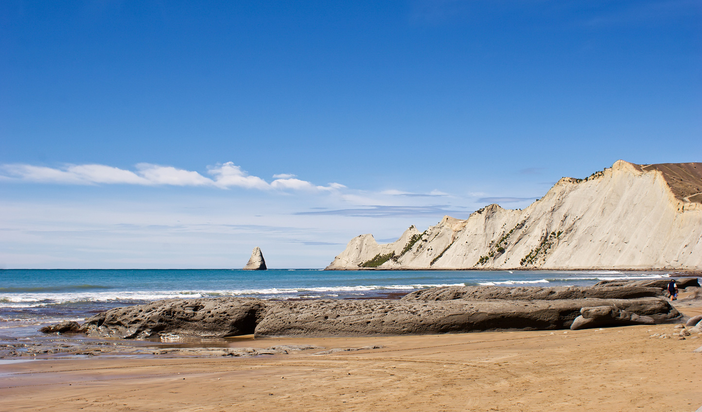 Take a stroll along the beach at Cape Kidnappers