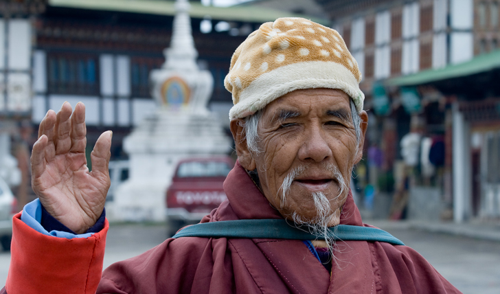 image of an old monk in Bhutan