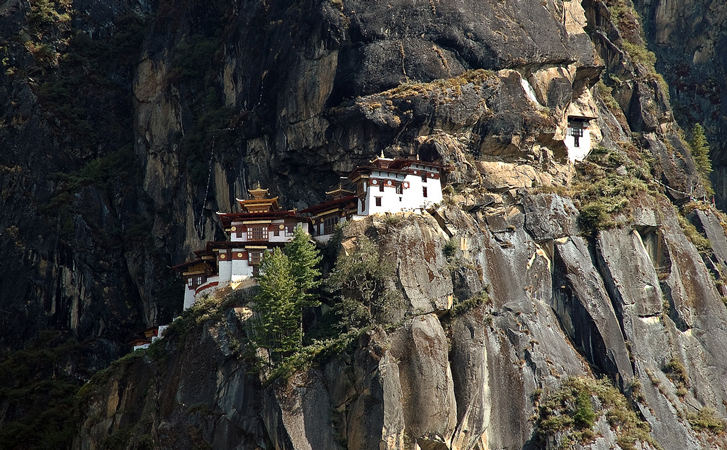 View of the Tiger's nest hidden in the mountain side