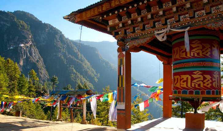 The prayer wheel at Taktshang monastery, Paro