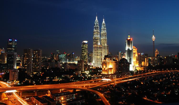 kuala lumpur skyline twinkling at night, Malaysia