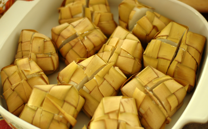 ketupat, rice boiled in leaves before being cut into squares