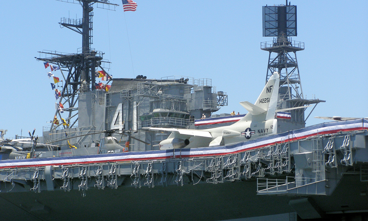 L-39 Jet Fighter parked on the USS midway