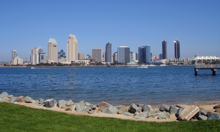 The buildings that form San Diego's skyline