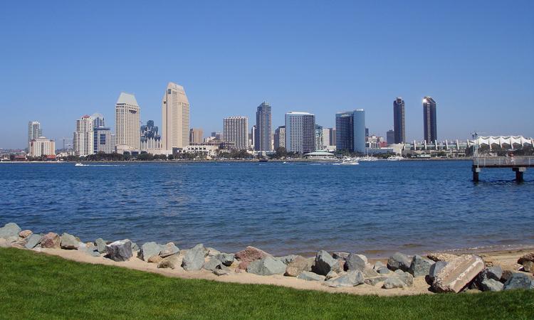 The buildings that form San Diego's skyline