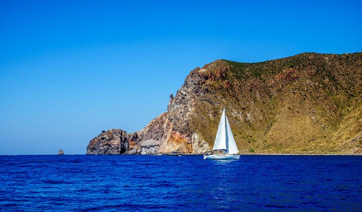Sailing around Lipari, Italy