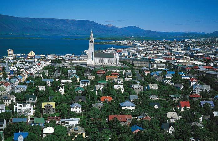 an aerial view of reykjavik