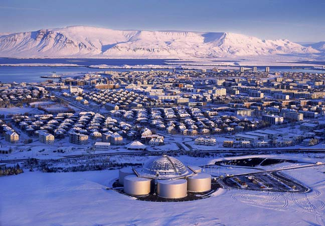Snow-covered Reykjavik