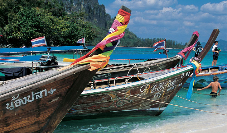 Moored boats in Thailand
