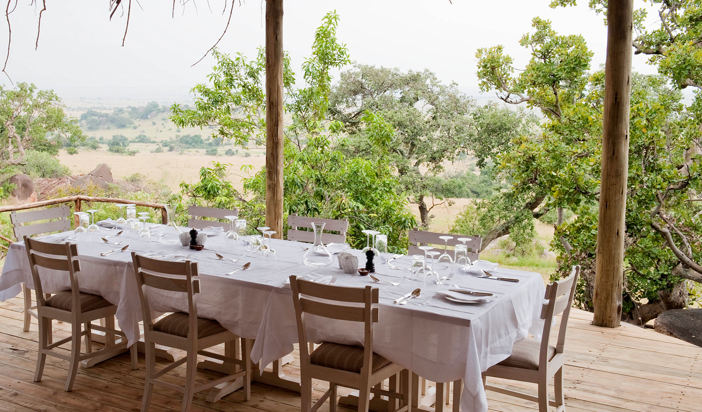 Dine al fresco with views across the plains