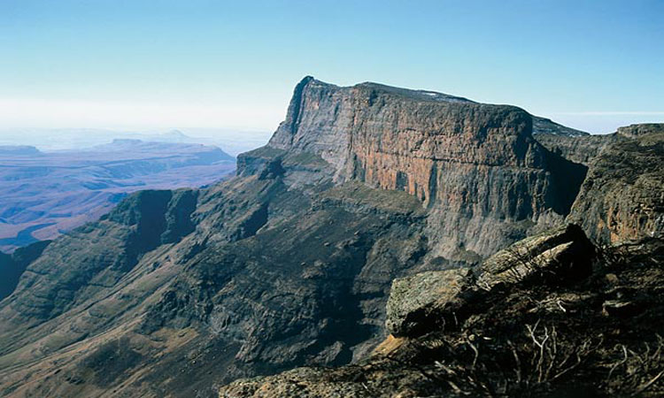 helicopter views over Drakensberg Mountain range