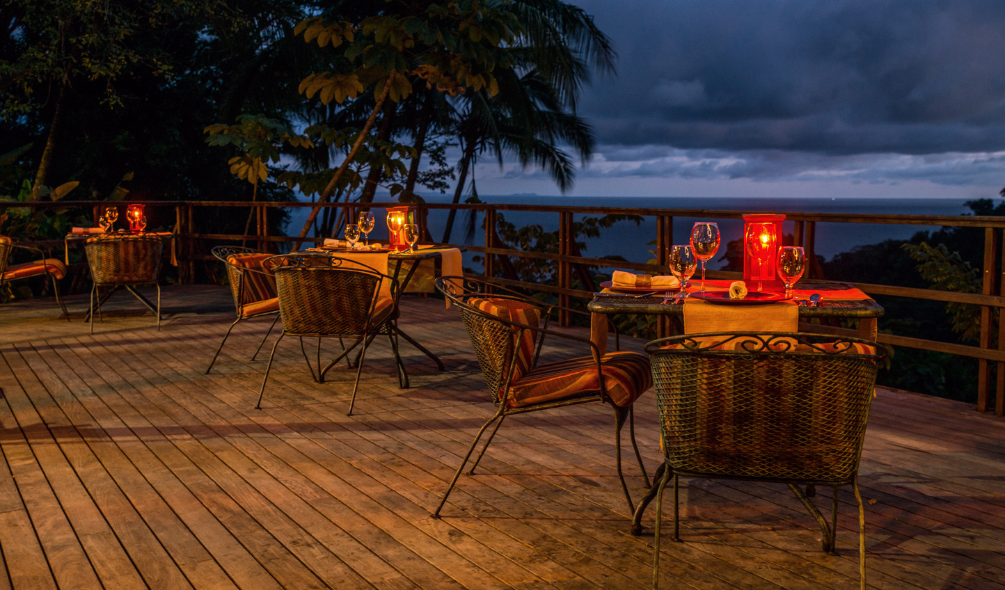 Dine beneath the stars with views out to the ocean