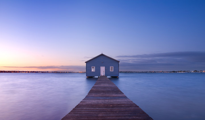 A boathouse at dawn in Perth