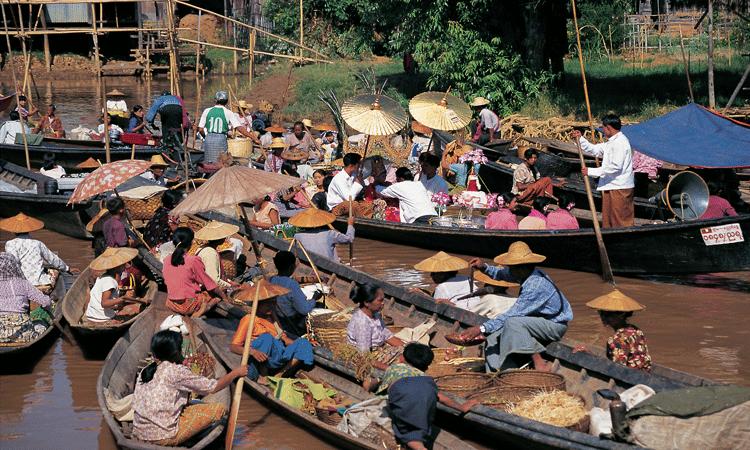 A bustling market in yangon