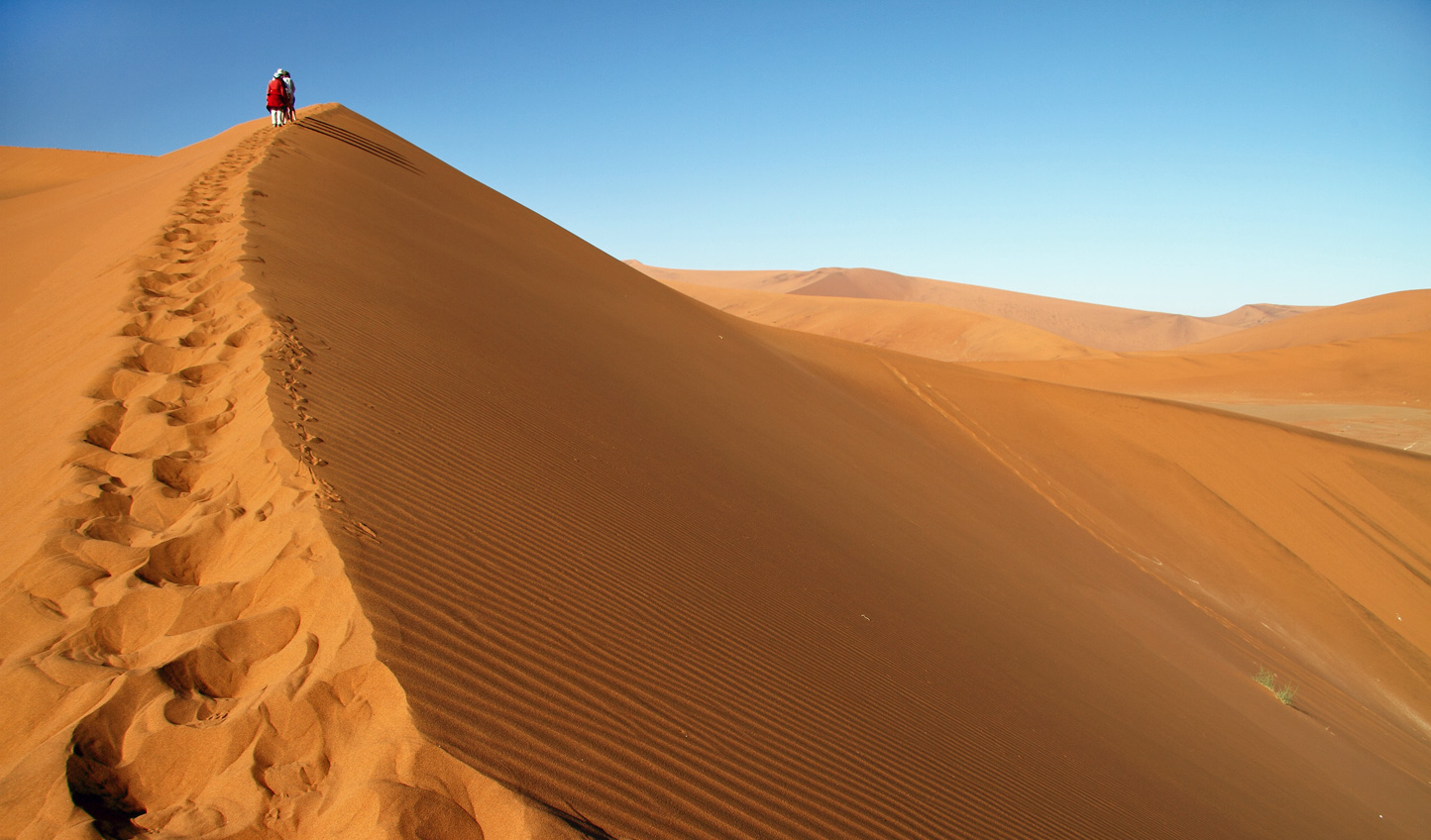 Hike atop Namibia's mighty dunes and soak in the views