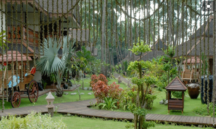 The luscious gardens at ngapali