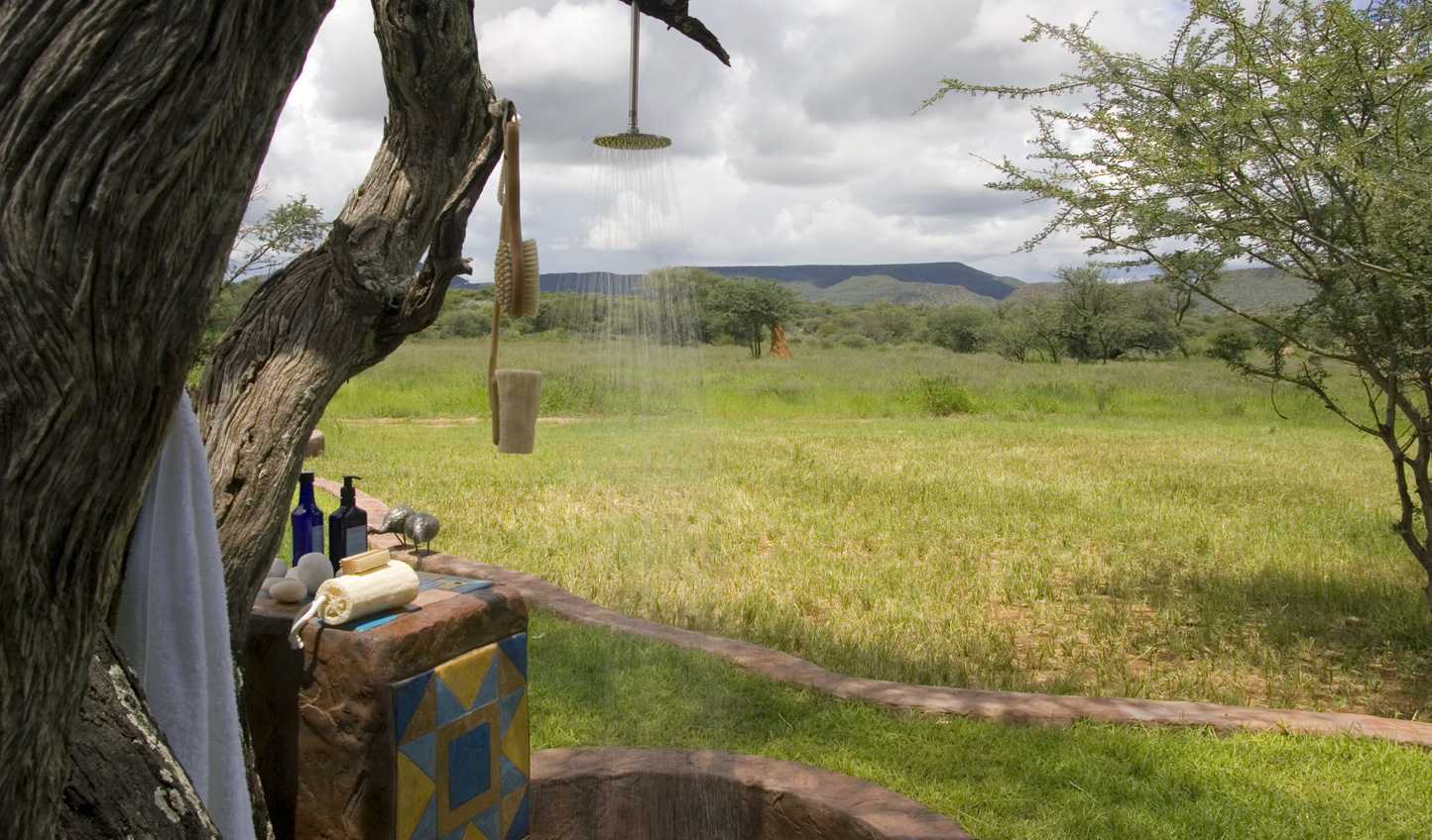 Shower out amid the wilds of Africa