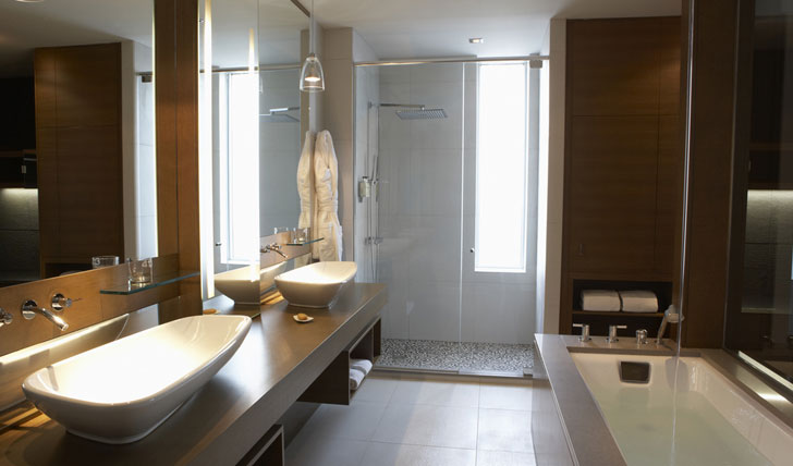 Sleek bathrooms at the Hotel Le Germain