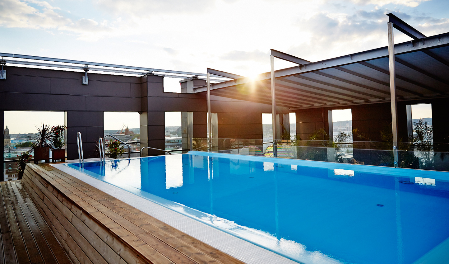 Do a few laps in the rooftop pool