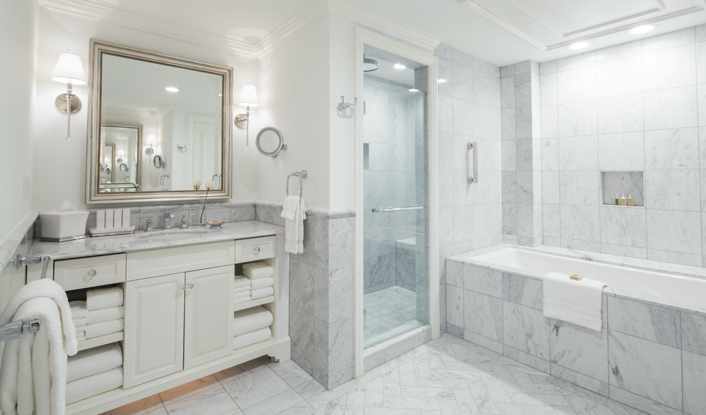 Slick marble bathrooms for added decadence