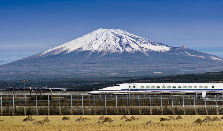 Hop on the Bullet Train past Mt Fuji