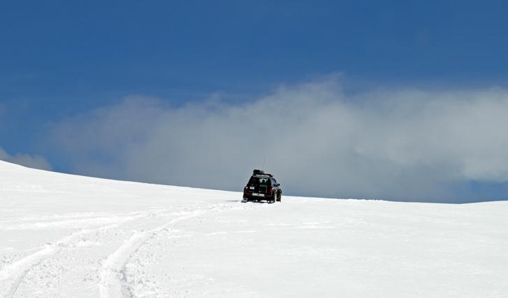 Head up the snowy volcano