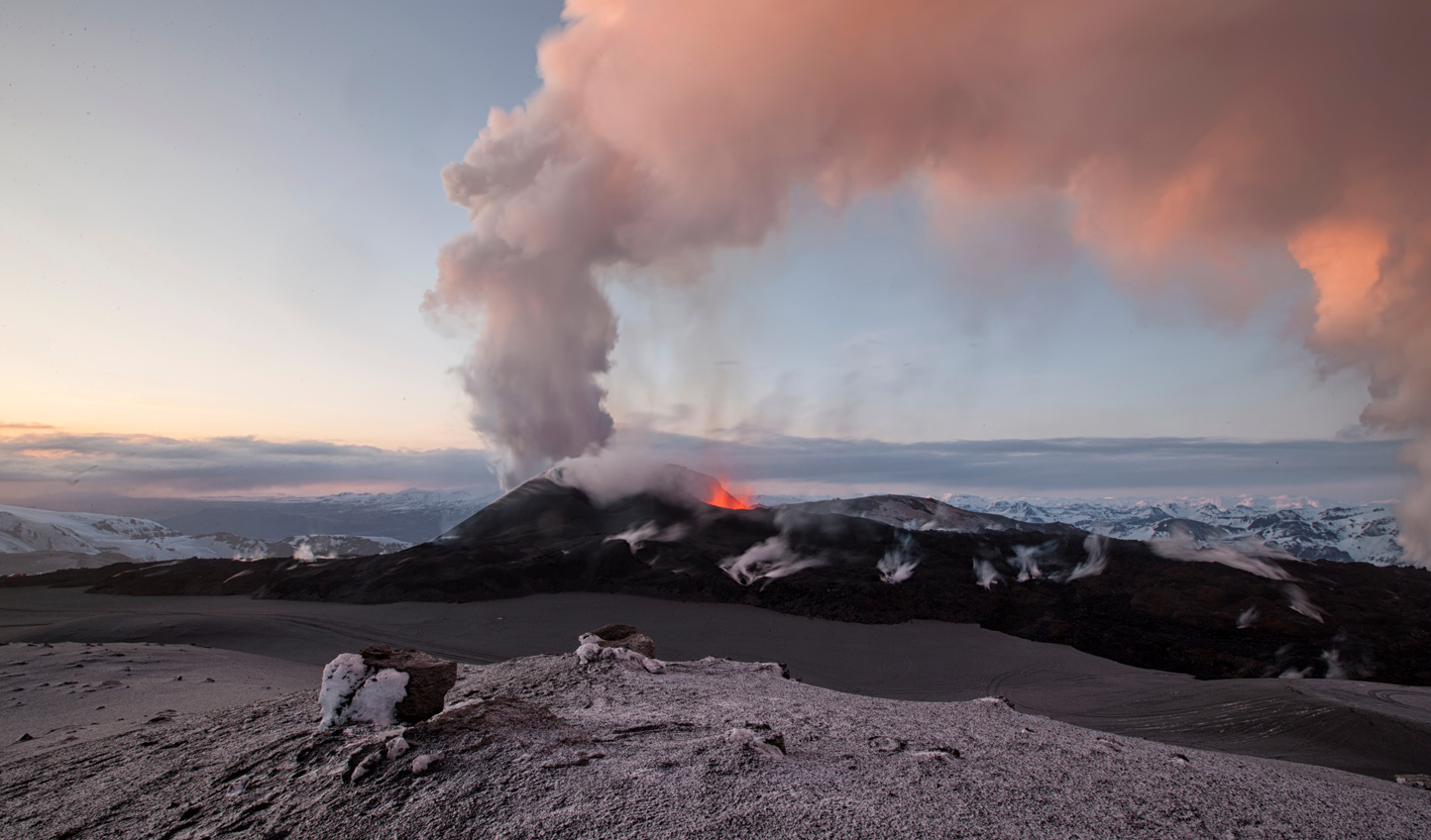 The smoke rising off Eyjafjallajokull