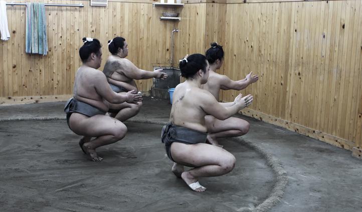 Watch Sumo wrestlers practice
