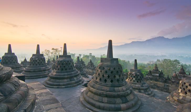 Sunrise over Borobudur Temple Stupa in Yogyakarta, Java