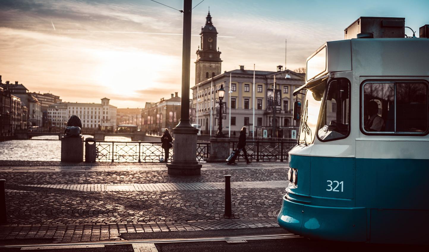 Trams through the city