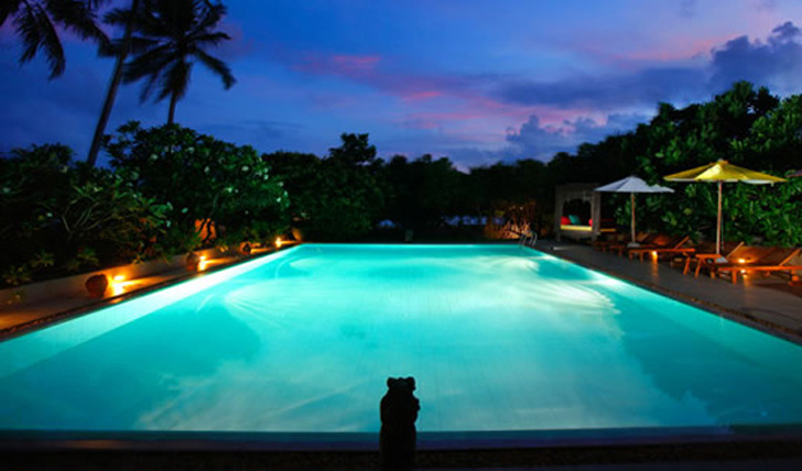 the pool lit up at night at Aditya, Sri Lanka