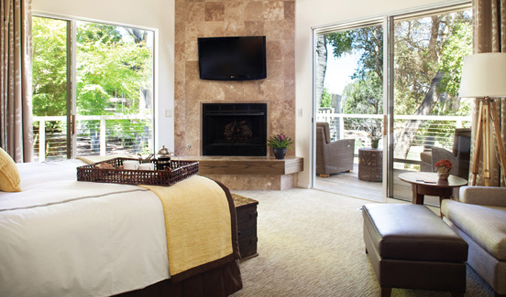 Neutral tones of a luxury bedroom at Carmel Valley Ranch, California, USA